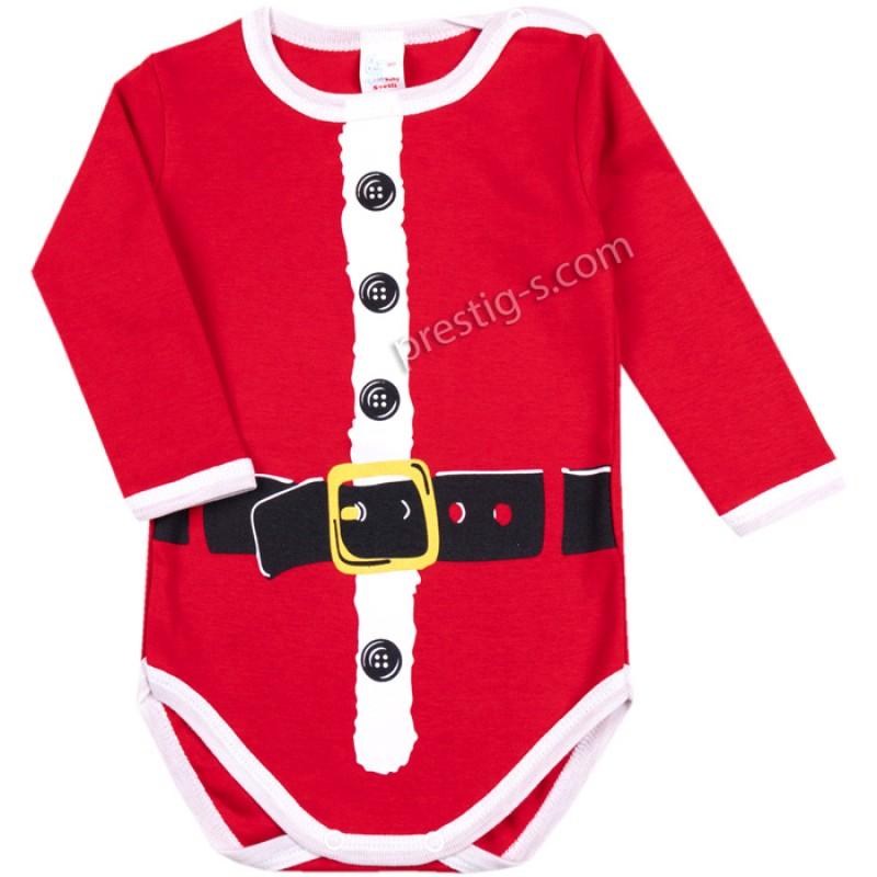 Коледно Боди Дядо Коледа-сито в червено /68-80/ интерлог