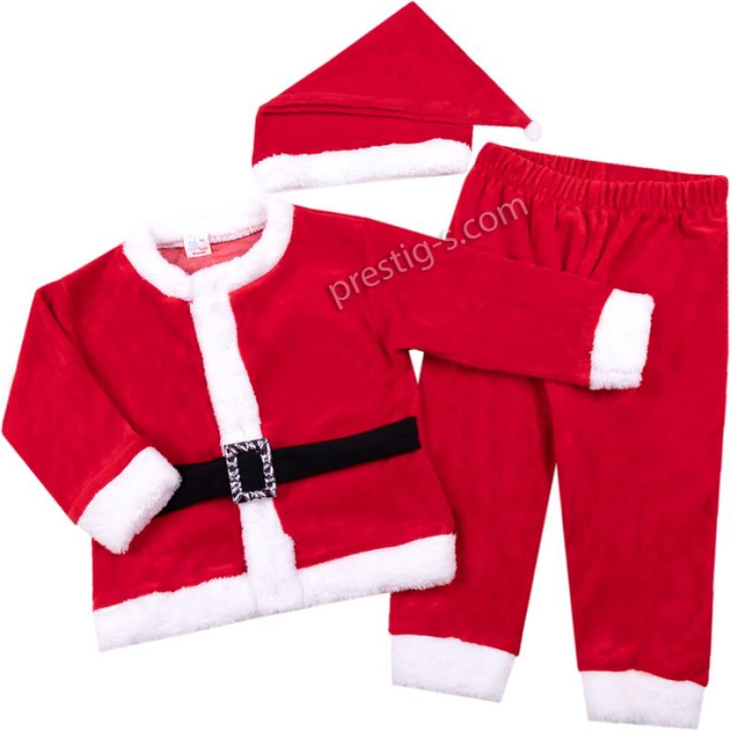 Коледен комплект с колан Дядо Коледа /86-98/ плюш