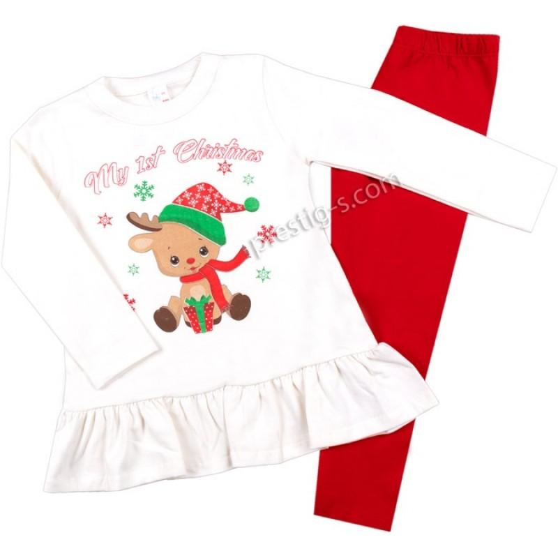 Коледен к-т момиче бебе Еленче с подаръче /68-80/ л.вата-ликра