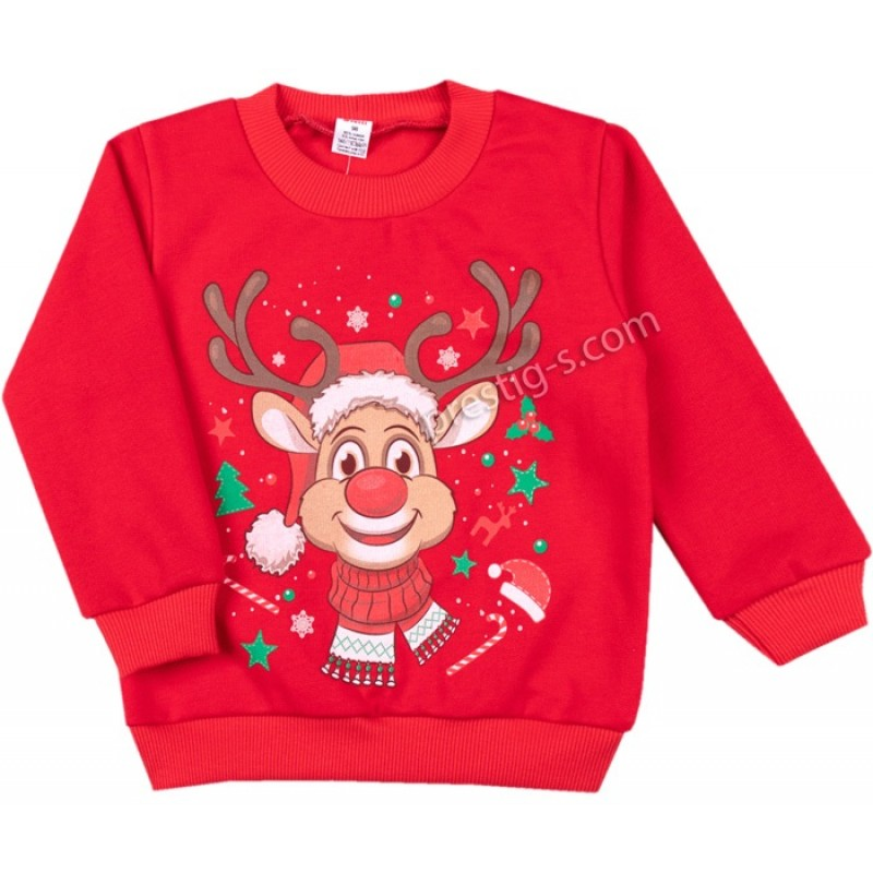 Коледна блуза Еленчето в червено /86-116/ л.вата-ликра