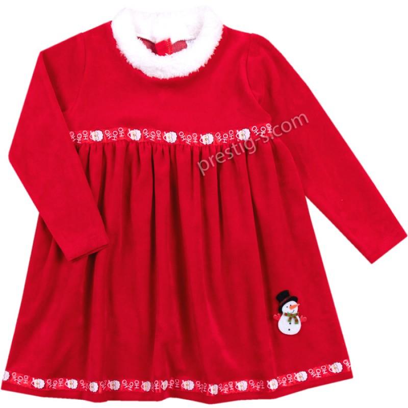 Коледна рокля Снежко-Ho-ho-ho /86-98/ плюш