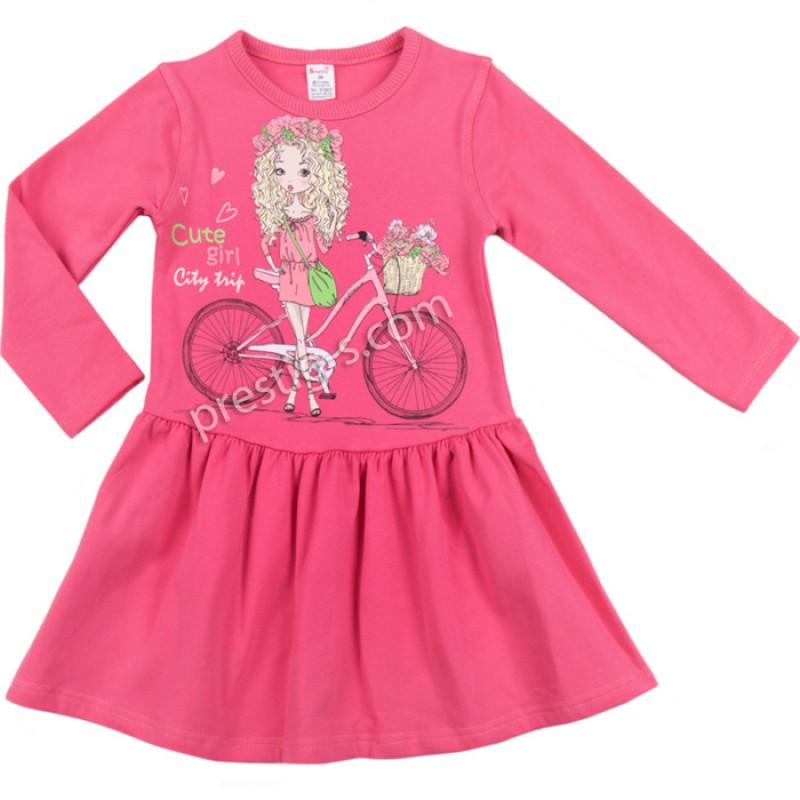 Рокля д.р. Момиче с колело в б.розово /86-98/ л.вата-ликра