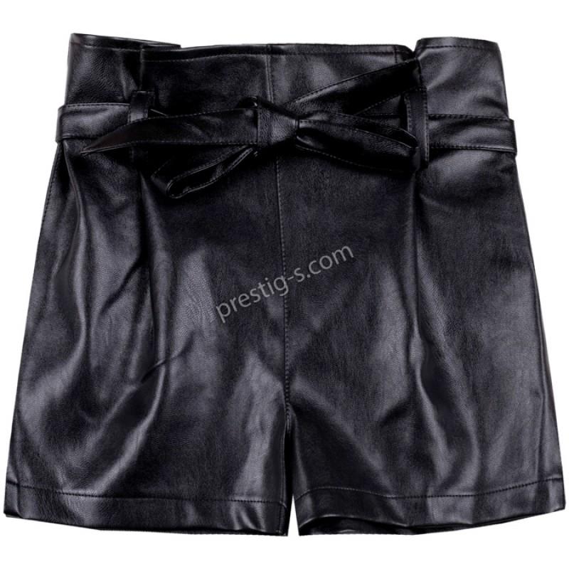 Къс Кожен панталон с коланче в черно /104-170/ м.201 245-1