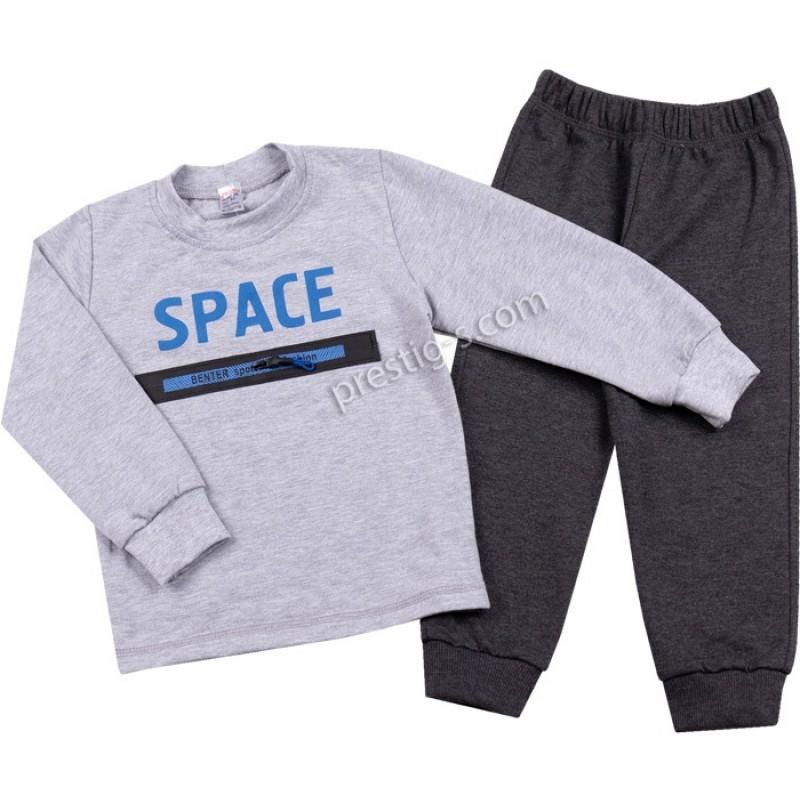 Комплект Space в сив меланж/син /92-104/ л.вата/ликра
