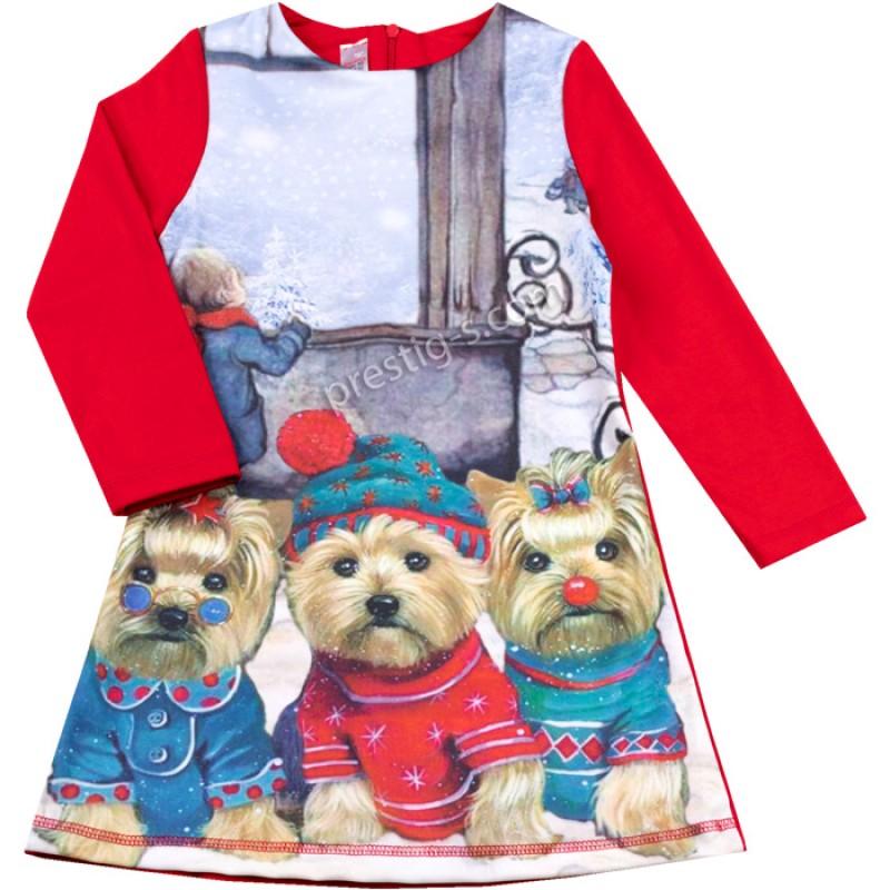 Коледна рокля Кученца в червено /110-134/ л.вата-ликра